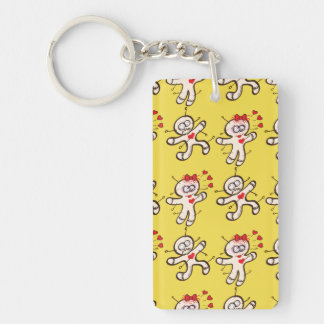 Male voodoo doll running from a female in love keychain
