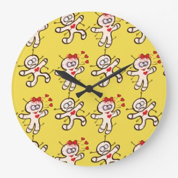 Halloween Themed Male voodoo doll running from a female in love large clock