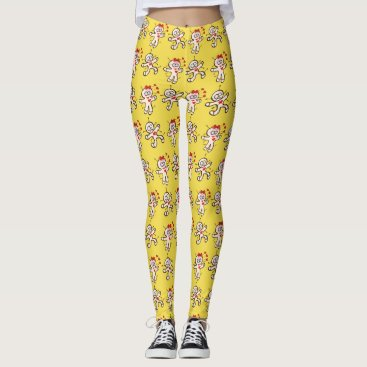 Halloween Themed Male voodoo doll running from a female in love leggings
