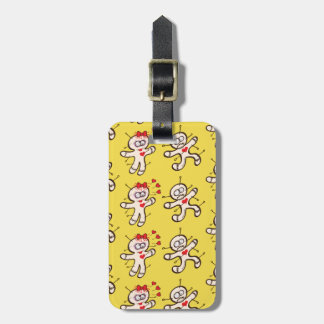 Male voodoo doll running from a female in love luggage tag
