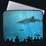 "Male Whale Shark Laptop Sleeve<br><div class=""desc"">Male whale shark at Georgia Aquarium with crowd of visitors silhouetted in foreground.</div>"