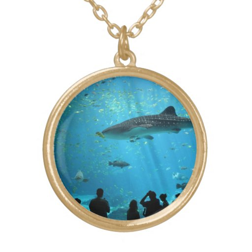 Male Whale Shark Round Pendant Necklace