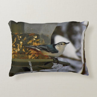 Male White-Breasted Nuthatch Accent Pillow