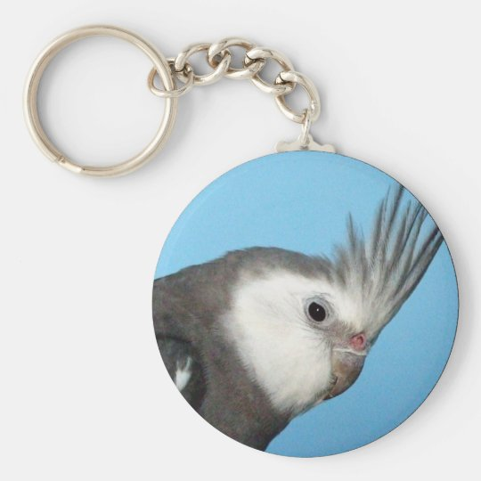 Male Whiteface Cockatiel Keychain