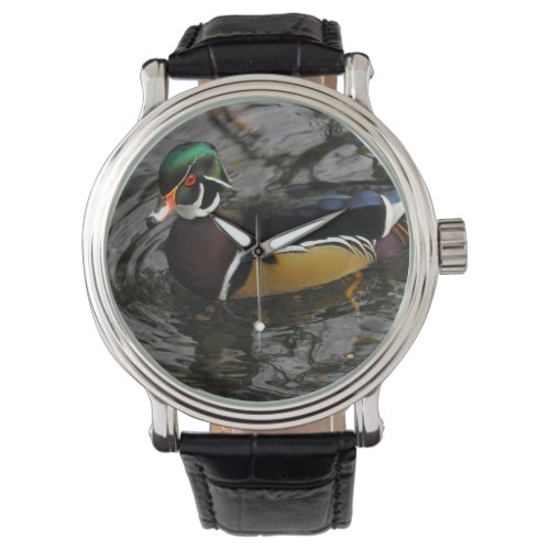 Male Wood Duck At Crystal Springs Rhododendron Wrist Watch