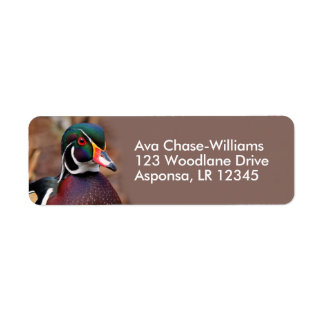 Male Wood Duck in the Woods Label
