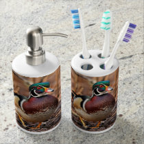 Male Wood Duck in the Woods Soap Dispenser & Toothbrush Holder