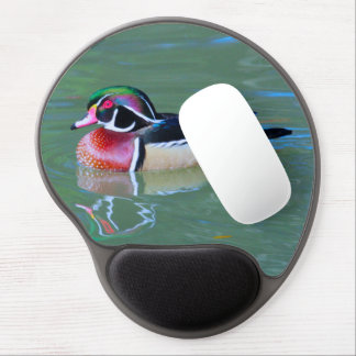 Male Wood Duck on pond Gel Mouse Pad
