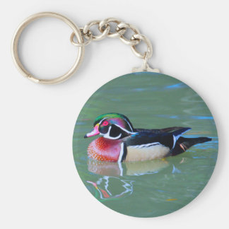 Male Wood Duck on pond Key Chain