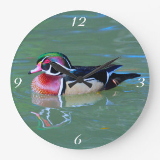 Male Wood Duck on pond Large Clock