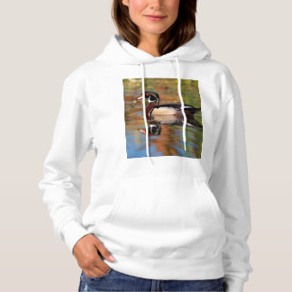 Male wood duck swims, California Hoodie