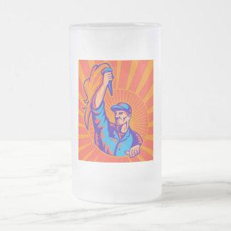 male worker carrying flaming torch sunburst retro coffee mug