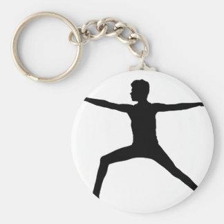 Male Yoga Pose Silhouette Keychain