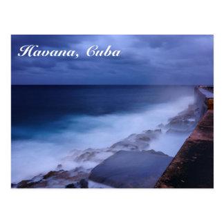 Malecon en postal de La Habana, Cuba