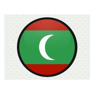 Maledives quality Flag Circle Postcard