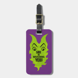 Small Luggage Tag with leather strap with Maleficent She Is Watching You design