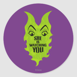 Round Sticker with Maleficent She Is Watching You design