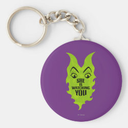 Basic Button Keychain with Maleficent She Is Watching You design