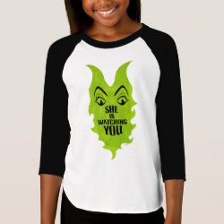 Girls' American Apparel 3/4 Sleeve Raglan T-Shirt with Maleficent She Is Watching You design