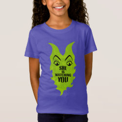 Girls' Fine Jersey T-Shirt with Maleficent She Is Watching You design