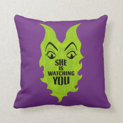 Cotton Throw Pillow with Maleficent She Is Watching You design