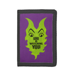 TriFold Nylon Wallet with Maleficent She Is Watching You design