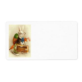 Maleta coloreada del huevo del conejito de pascua  etiquetas de envío