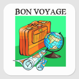 Maleta, equipaje, mapa y globo: ¡Buen viaje! Pegatina Cuadrada