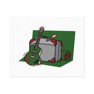 maleta green.png de la guitarra acústica impresión de lienzo