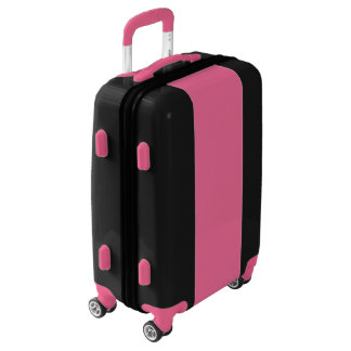 Maleta negra con la raya rosada