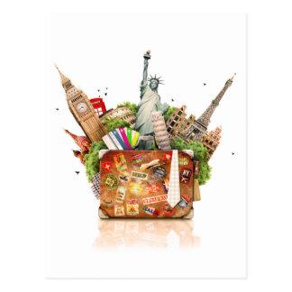 Maleta por completo de destinos del viaje tarjetas postales