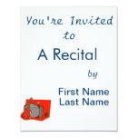 maleta red.png de la guitarra acústica invitación 10,8 x 13,9 cm
