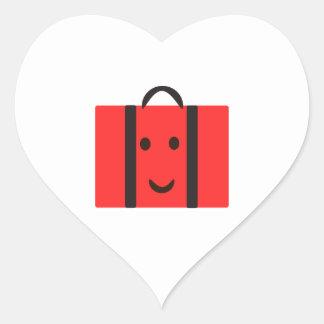 maleta roja feliz pegatina en forma de corazón