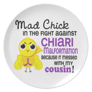 Malformación enojada de Chiari del primo del pollu Plato De Comida