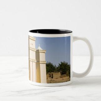 Mali, Bamako. Mosque, Bamako-Djenne Road Two-Tone Coffee Mug