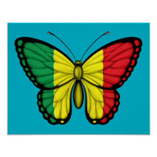 Mali Butterfly Flag Posters