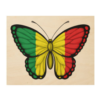 Mali Butterfly Flag Wood Print