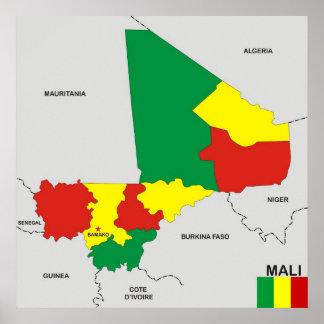 mali country political map flag print