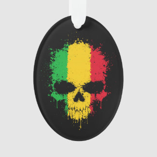 Mali Dripping Splatter Skull Ornament
