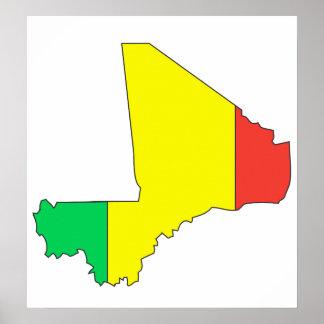 Mali Flag Map full size Poster