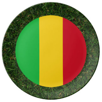 Mali Flag on Grass Plate