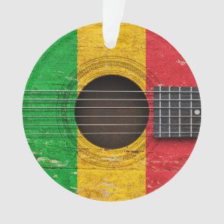 Mali Flag on Old Acoustic Guitar