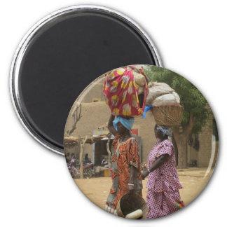 Mali Women at the Monday Market, Djenne-2 2 Inch Round Magnet