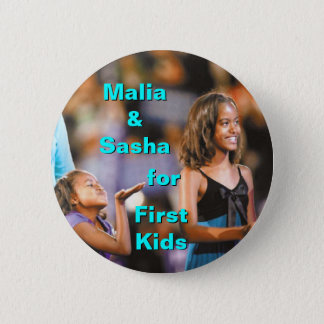 Malia and Sasha Obama for First Kids Button