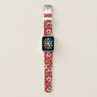 Malia Hawaiian Hibiscus Floral Red Apple Watch Band
