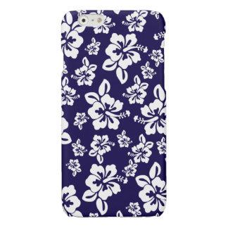 Malia Hibiscus - Blue Hawaiian Pareau Print Glossy iPhone 6 Case