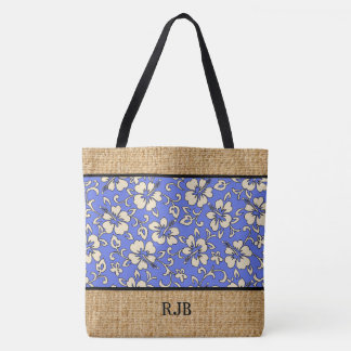 Malia Hibiscus Hawaiian Monogram Beach Bag