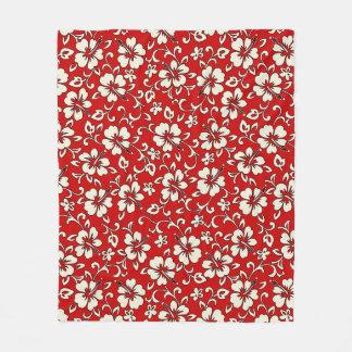 Malia Hibiscus Hawaiian Pareau Print Fleece Blanket