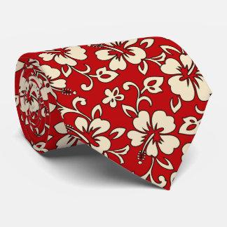Malia Hibiscus Hawaiian Pareau Print Neck Tie
