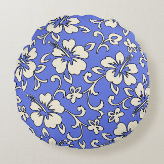 Malia Hibiscus Hawaiian Pareau Print Round Pillow